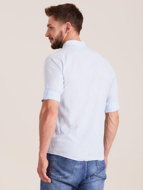 Jasnoniebieska koszula męska z bawełny                              zdj.                              2