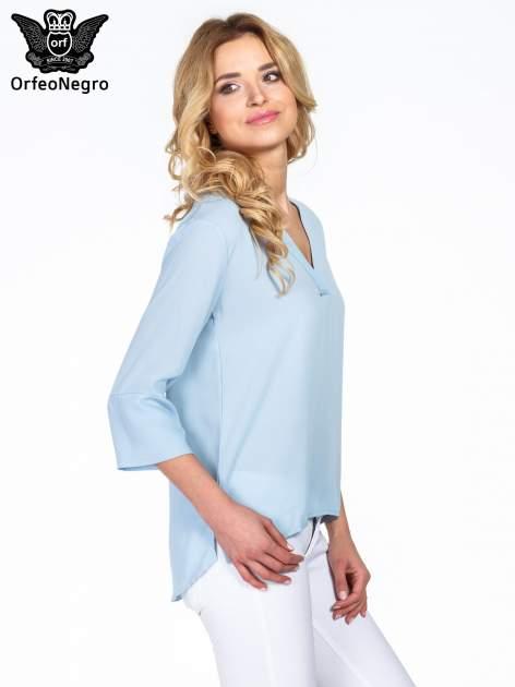 Jasnoniebieska koszula z dłuższym tyłem i rękawkami 3/4                                  zdj.                                  3