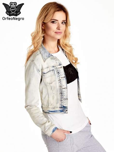 Jasnoniebieska kurtka jeansowa damska marmurkowa Jasnoniebieska kurtka jeansowa damska marmurkowa z kieszeniami                                  zdj.                                  3
