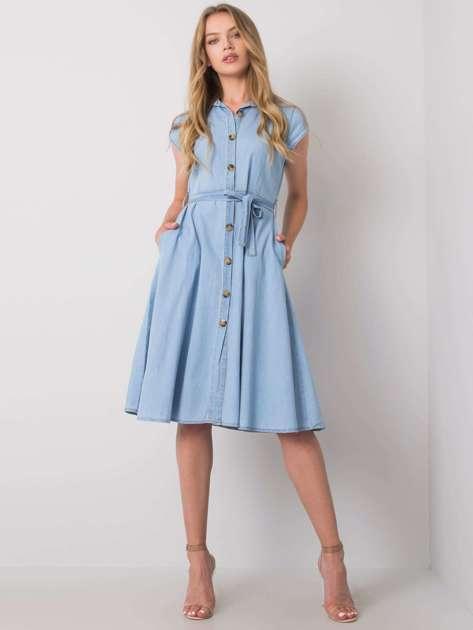 Jasnoniebieska sukienka z guzikami Depika RUE PARIS