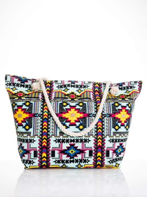 Jasnoniebieska torba plażowa w azteckie wzory                                  zdj.                                  1