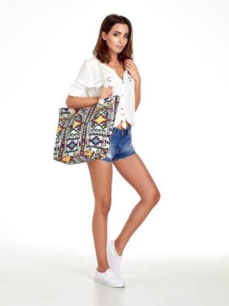 Jasnoniebieska torba plażowa w azteckie wzory                                  zdj.                                  2