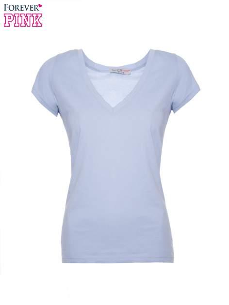 Jasnoniebieski basicowy t-shirt z dekoltem w serek                                  zdj.                                  2