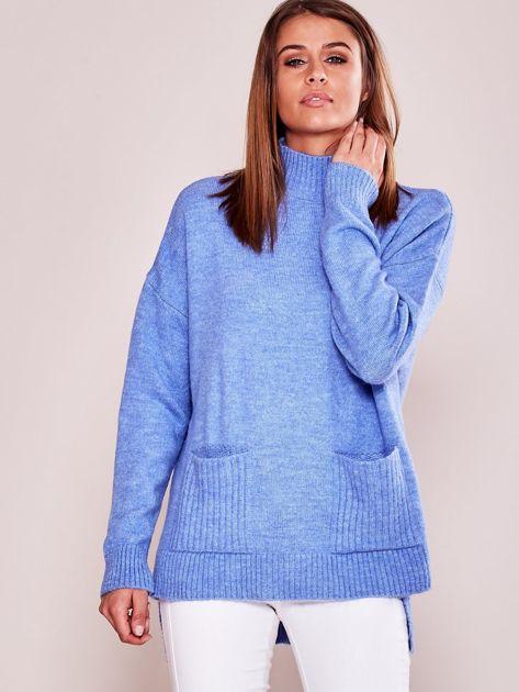 Jasnoniebieski luźny sweter z golfem                              zdj.                              1