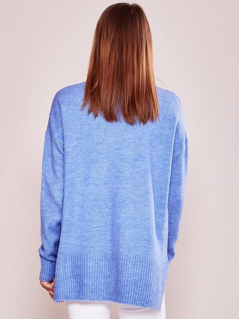 Jasnoniebieski luźny sweter z golfem                              zdj.                              2