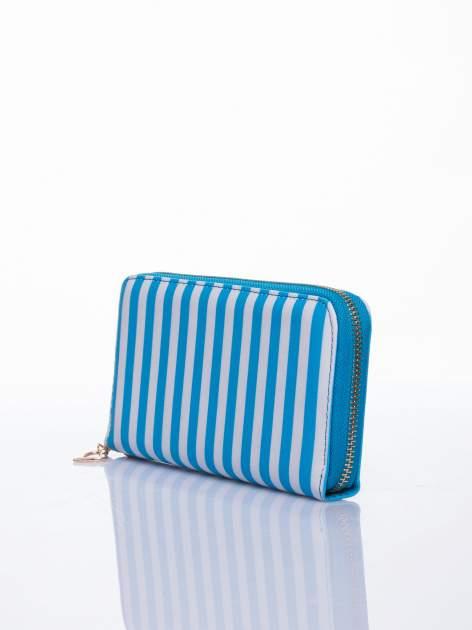 Jasnoniebieski portfel w paski z uchwytem                                  zdj.                                  2