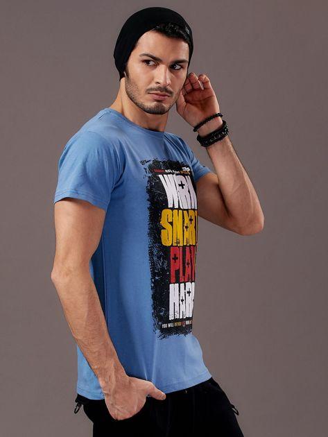 Jasnoniebieski t-shirt męski Work Smart                               zdj.                              5