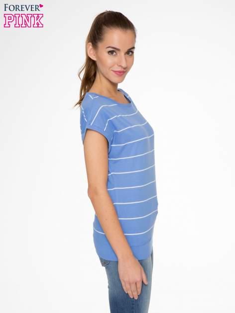 Jasnoniebieski t-shirt w paski                                   zdj.                                  2