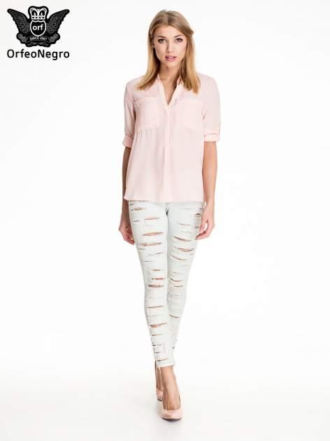 Jasnoniebieskie dopasowane spodnie trash jeans                                  zdj.                                  2
