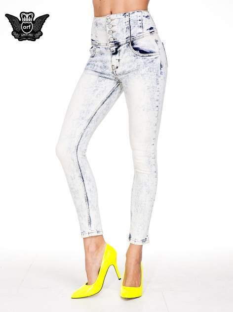 Jasnoniebieskie gorsetowe spodnie jeansowe typu skinny
