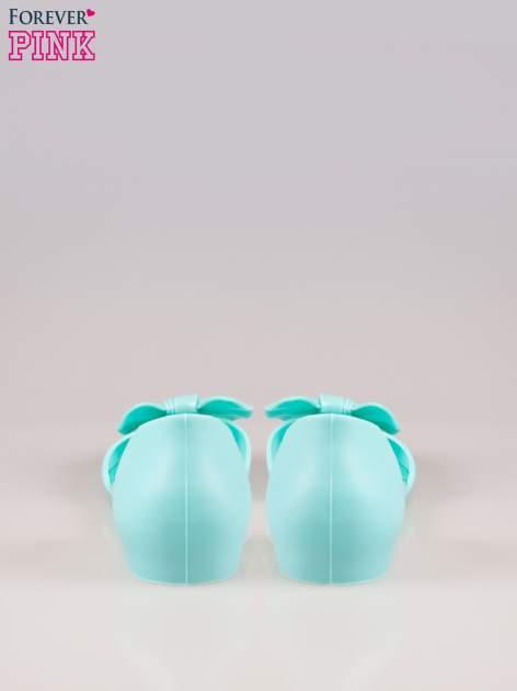 Jasnoniebieskie gumowe baleriny peep toe z kokardą                                  zdj.                                  3