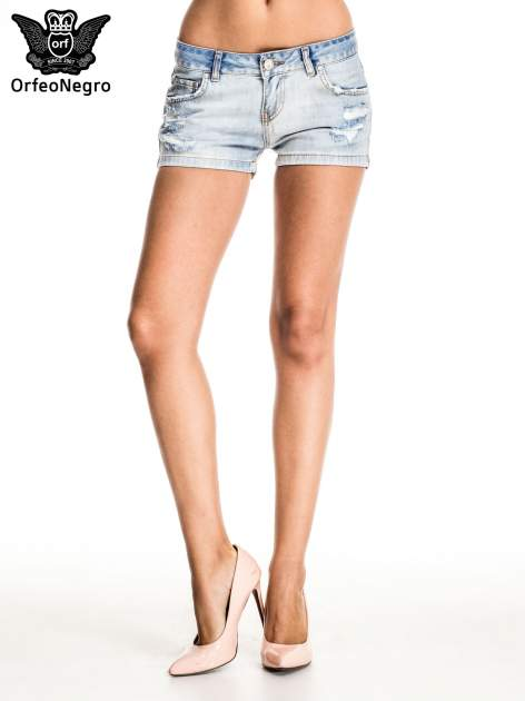 Jasnoniebieskie jeansowe szorty z wytarciami                                  zdj.                                  3