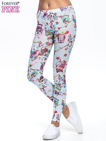 Jasnoniebieskie legginsy z motywem sowy                                  zdj.                                  1