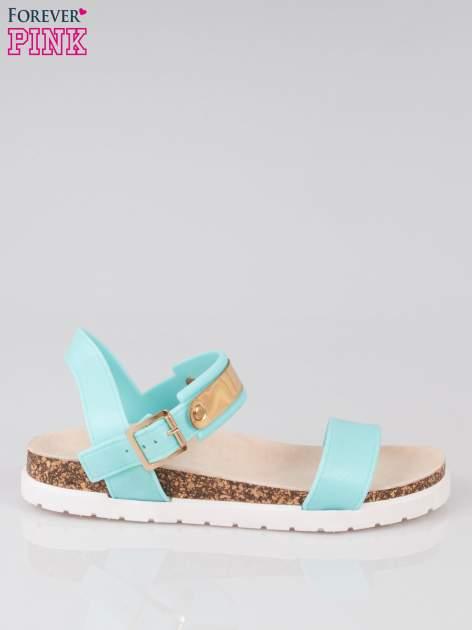 Jasnoniebieskie sandały damskie z blaszką
