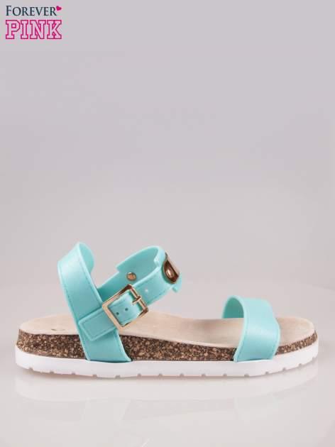 Jasnoniebieskie sandały z blaszką na korkowej podeszwie                                  zdj.                                  1