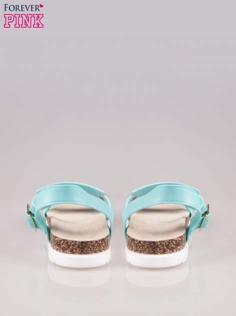 Jasnoniebieskie sandały z blaszką na korkowej podeszwie                                  zdj.                                  3