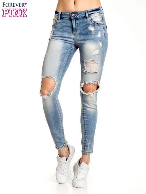Jasnoniebieskie spodnie skinny jeans ripped knee