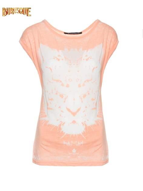 Jasnopomarańczowy t-shirt z nadrukiem tygrysa                                  zdj.                                  1