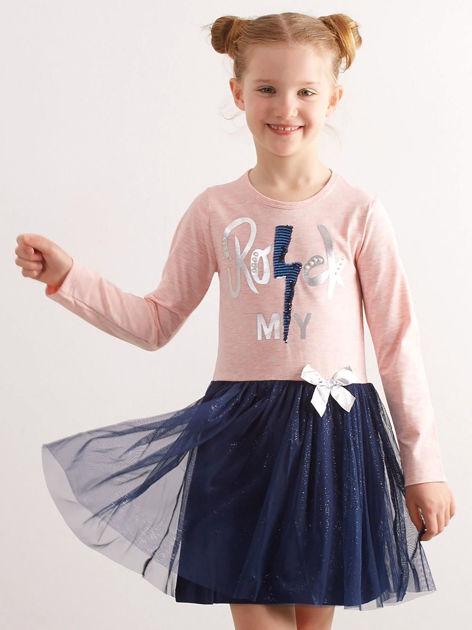 Jasnoróżowa bawełniana sukienka dla dziewczynki                              zdj.                              1