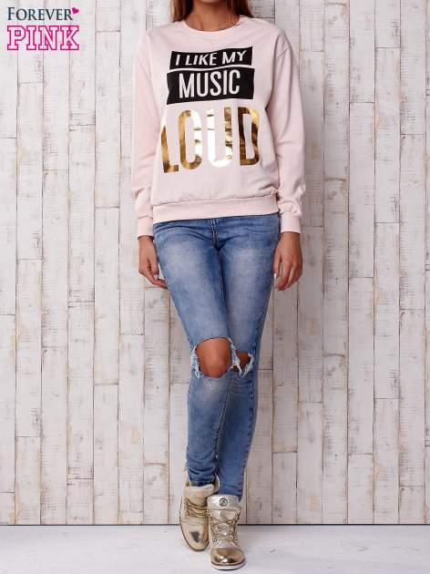 Jasnoróżowa bluza z napisem I LIKE MY MUSIC LOUD                                  zdj.                                  4
