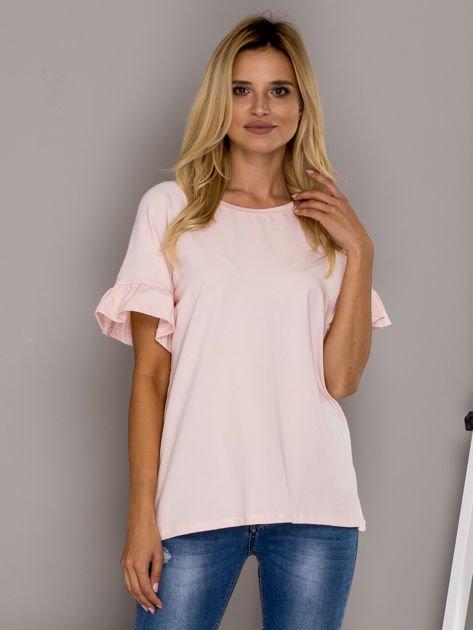 Jasnoróżowa bluzka z falbanami na rękawach                                  zdj.                                  1