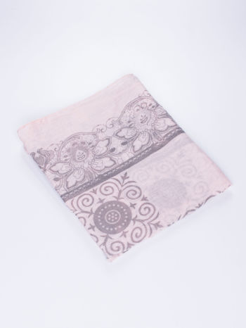 Jasnoróżowa chusta z dekoracyjnym ornamentem                                  zdj.                                  3
