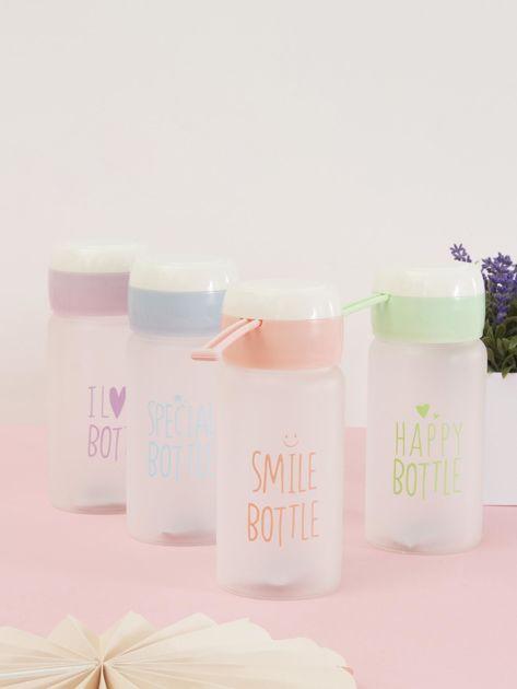 Jasnoróżowa ekologiczna butelka bidon z napisem                              zdj.                              1