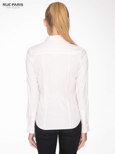 Jasnoróżowa elegancka koszula damska z marszczonym przodem                                  zdj.                                  4