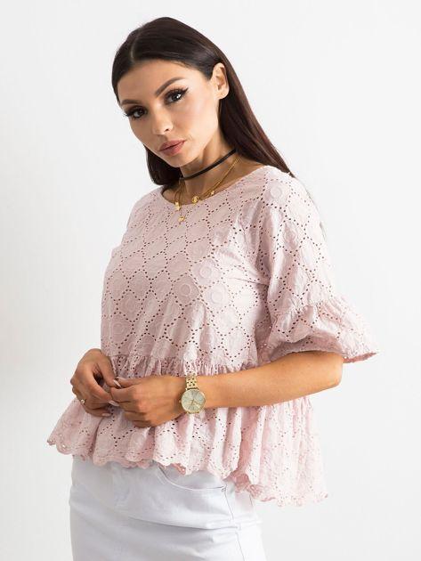 Jasnoróżowa haftowana bluzka z falbaną                              zdj.                              3