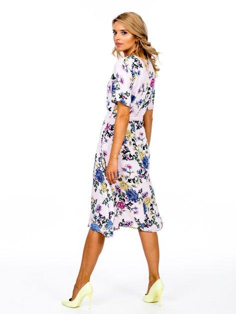 Jasnoróżowa kwiatowa sukienka na guziki                              zdj.                              2