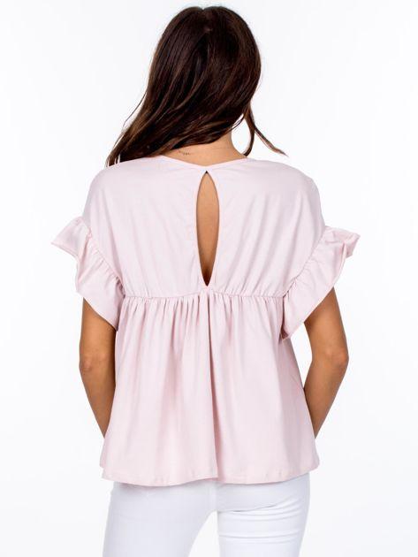 Jasnoróżowa odcinana bluzka z wycięciem łezką z tyłu                              zdj.                              2