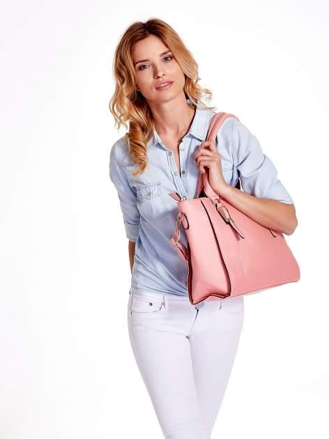Jasnoróżowa torba shopper bag z odpinanym paskiem                                  zdj.                                  6