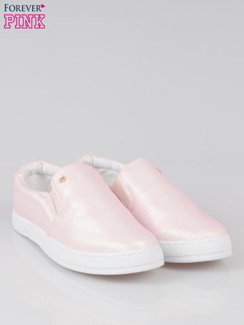 Jasnoróżowe buty sliponki glitter                                  zdj.                                  2