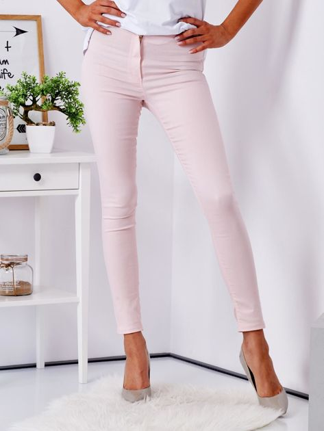 Jasnoróżowe dopasowane spodnie high waist                              zdj.                              1