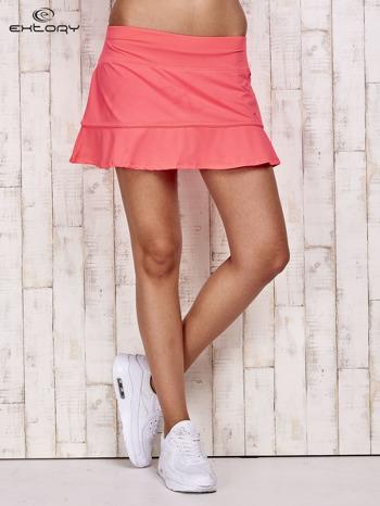 Jasnoróżowe spodenki spódniczka tenisowa z falbanką                                  zdj.                                  1