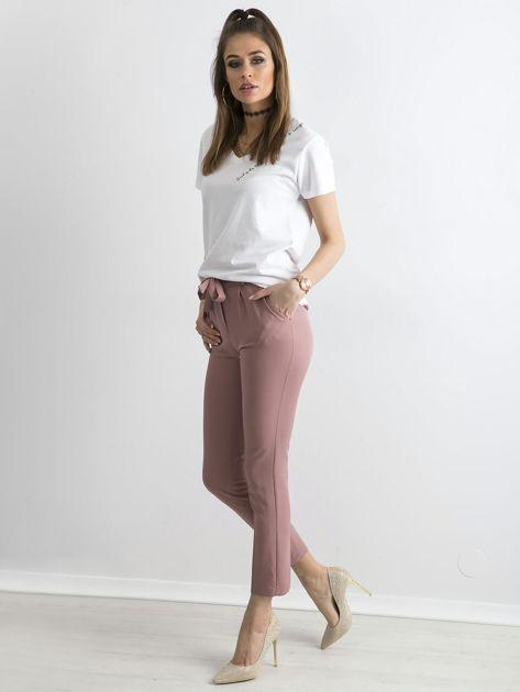 Jasnoróżowe spodnie z wiązaniem                               zdj.                              4