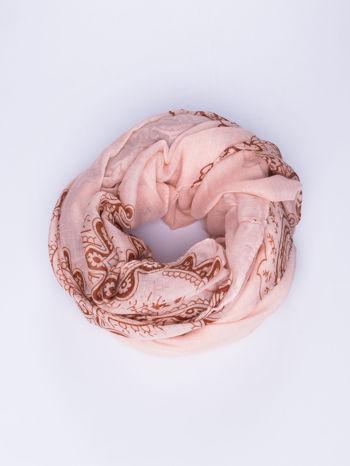 Jasnoróżowy orientalny szal we wzór paisley