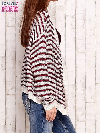 Jasnoróżowy otwarty sweter w paski                                  zdj.                                  3