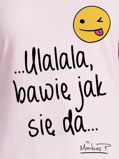 Jasnoróżowy t-shirt damski BAWIĘ JAK SIĘ DA by Markus P                                  zdj.                                  2