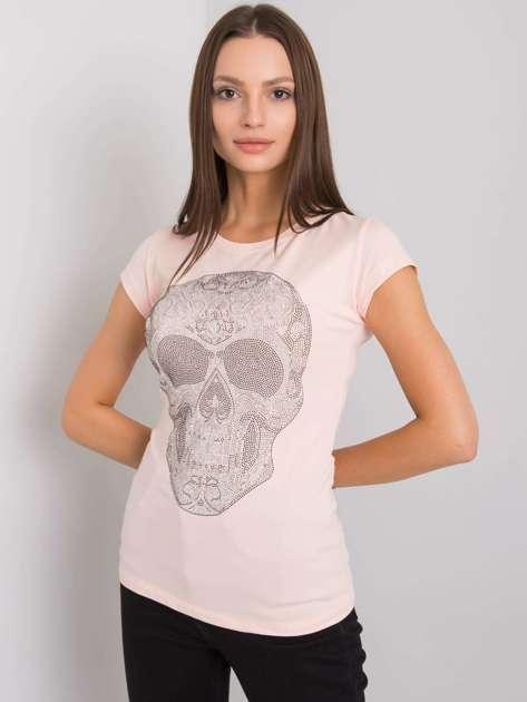 Jasnoróżowy t-shirt z aplikacją Skull