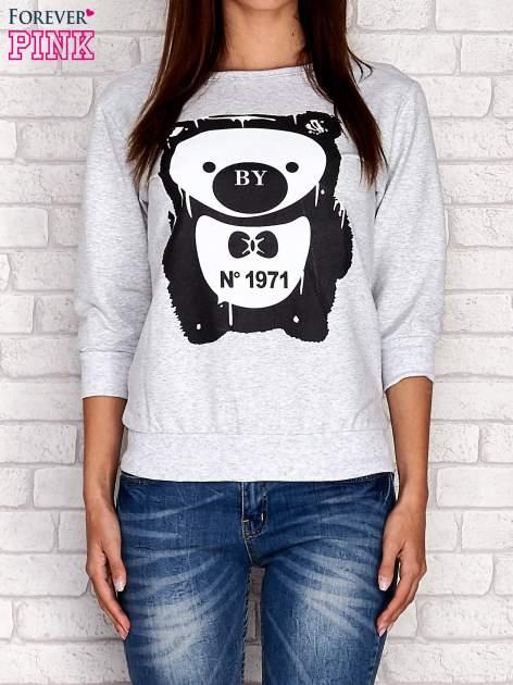 Jasnoszara bluza z nadrukiem pandy                                  zdj.                                  1