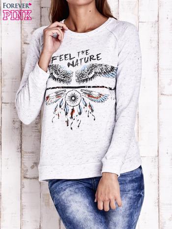 Jasnoszara bluza z napisem FEEL THE NATURE