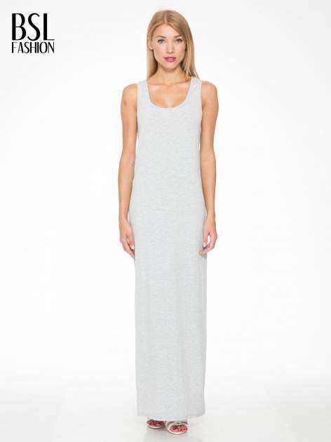 Jasnoszara długa sukienka z węzłem z tyłu