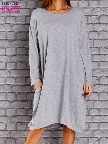 Jasnoszara dresowa sukienka oversize z kieszeniami                                  zdj.                                  1