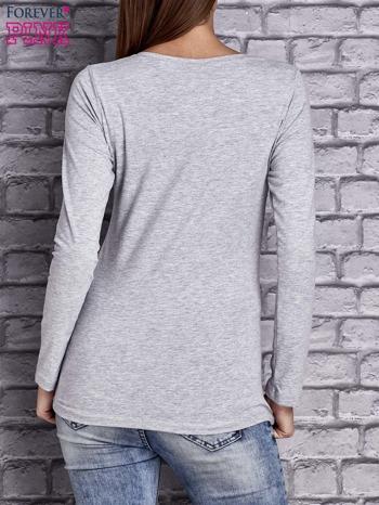 Jasnoszara gładka bluzka ze sznurowanym dekoltem i troczkami                                   zdj.                                  2