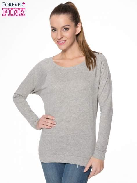 Jasnoszara melanżowa bawełniana bluzka z rękawami typu reglan                                  zdj.                                  1