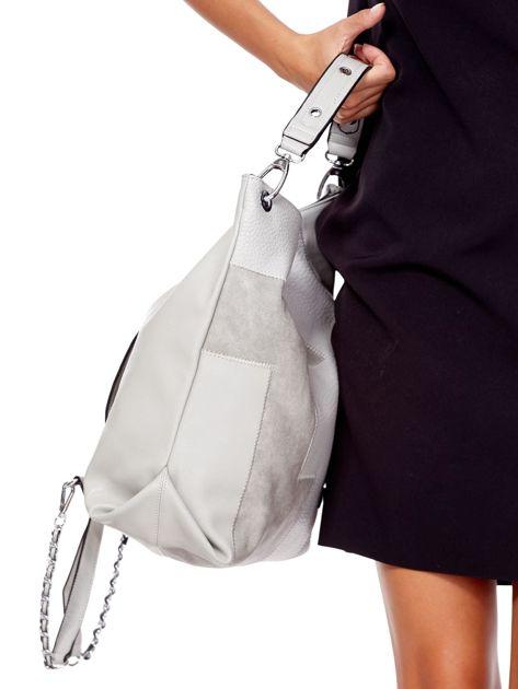 Jasnoszara torba-plecak z odpinanymi szelkami                              zdj.                              2