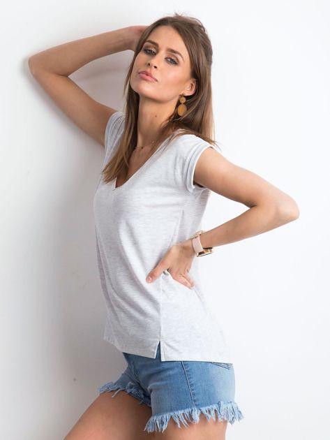 Jasnoszary melanżowy t-shirt Vibes                              zdj.                              1