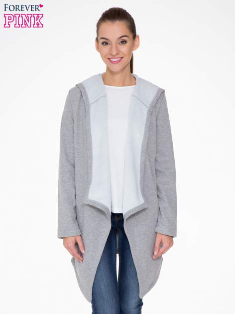 Jasnoszary płaszcz dresowy z asymetrycznymi bokami