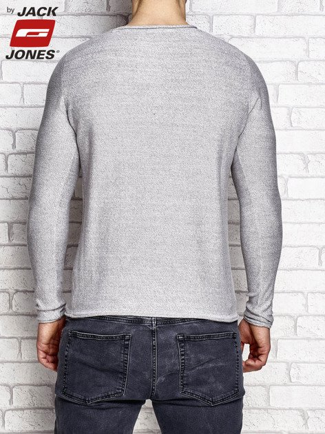 Jasnoszary sweter męski wzór melange